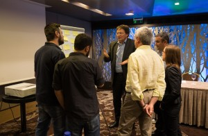 Discussion between FALCON partners during a workshop